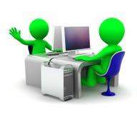 Personas de dos especialistas en computadoras en el lugar de trabajo ilustración del vector