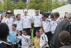 Personas de fútbol ocultas alemanas Fotos de archivo libres de regalías