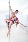 Personas de la danza de poste Imágenes de archivo libres de regalías