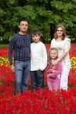 Personas de la familia de cuatro miembros en parque floreciente Imágenes de archivo libres de regalías