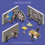 Personas de la oficina 01 del banco isométricas Fotografía de archivo libre de regalías