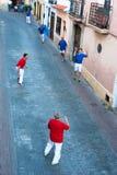 Personas de la pelota vasca Imagenes de archivo