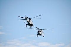 Personas de la visualización del helicóptero de los gatos negros Imagenes de archivo
