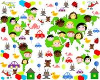 Personas de los niños de diversas razas en el mapa Fotografía de archivo