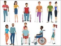 Personas discapacitadas con los amigos que les ayudan para fijar Ilustración del vector ilustración del vector