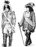 Personas en los trajes históricos stock de ilustración
