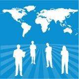 Personas globales interactivas del éxito con el CCB de la correspondencia de mundo Fotos de archivo libres de regalías