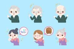Personas mayores con concepto del pelo Fotos de archivo