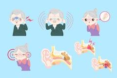Personas mayores con otitis media Imagen de archivo libre de regalías