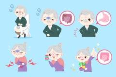 Personas mayores con problema del vientre Imagenes de archivo