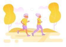 Personas mayores funcionadas con en el vector del parque ilustración del vector