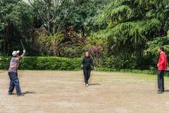 Personas mayores que juegan diábolo en China de Shangai del parque de fuxing Foto de archivo
