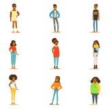 Personas negras afroamericanas de la calle del estilo de la colección de la ropa de colocación de los personajes de dibujos anima stock de ilustración