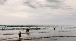 Personas que practica surf Imágenes de archivo libres de regalías
