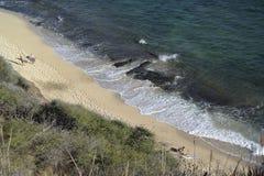 Personas que practica surf que caminan en Oahu imágenes de archivo libres de regalías