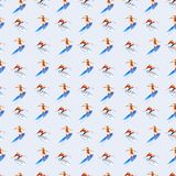 Personas que practica surf del hombre y de la muchacha, modelo inconsútil de la acuarela, fondo a mano ilustración del vector