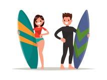 Personas que practica surf del hombre y de la mujer Ilustración del vector Stock de ilustración