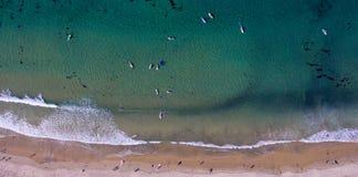 Personas que practica surf desde arriba Foto de archivo