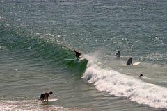 Personas que practica surf en el mar Imagenes de archivo