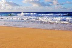 Personas que practica surf en Hawaii imagen de archivo libre de regalías