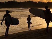 Personas que practica surf en la playa del océano en la puesta del sol Fotografía de archivo