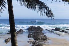 Personas que practica surf en las rocas de los mordedores Foto de archivo