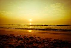 Personas que practica surf que recorren en la playa Fotos de archivo libres de regalías
