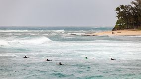 Personas que practica surf que se baten hacia fuera a la playa Hawaii de la puesta del sol de las ondas Foto de archivo