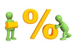 persone 3d, tenendo i simboli meno e le percentuali illustrazione di stock