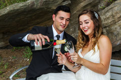 Persone appena sposate con champagne immagini stock