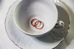 Persone appena sposate degli anelli di oro e tazza bianca vuota Immagine Stock Libera da Diritti
