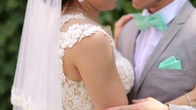 Persone appena sposate delicate degli amanti nel parco vicino ad un grande albero stock footage
