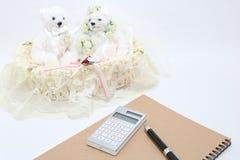 Persone appena sposate e calcolatore su fondo bianco fotografie stock