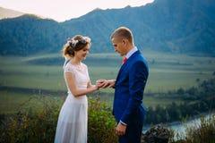 Persone appena sposate su cerimonia di nozze su fondo delle montagne La sposa è vestita in vestito da sposa bianco classico, lo  fotografie stock