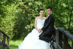 Persone appena sposate sul ponte di legno in natura Immagini Stock