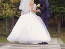 Persone appena sposate sul vecchio ponte Fotografia Stock Libera da Diritti