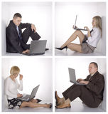Persone di affari sulla lan senza fili Fotografia Stock