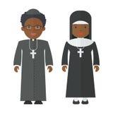 Persone di colore della suora del sacerdote Immagini Stock