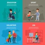 Persone disattivate aiuto Lavoro volontario, sport e riabilitazione, opportunità di istruzione e lavoro per handicappato illustrazione vettoriale