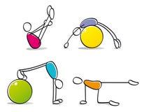 Persone divertenti che si esercitano nei pilates illustrazione vettoriale