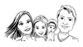 4 persone gelukkige familie Stock Afbeeldingen