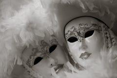 Maschera in bianco e nero di carnevale, piazza San Marco, Venezia, Italia Immagine Stock