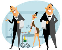 Personeel in het restaurant royalty-vrije illustratie