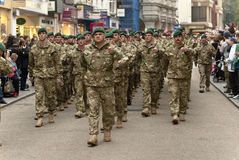 Personel from 3 Commando Brigade marching Stock Photos