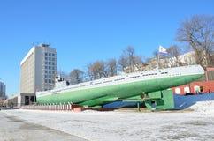 Personel flota pacyfiku, zarządzanie i pamiątkowa łódź podwodna s-56 na statku quay Vladivostok i Zdjęcia Royalty Free