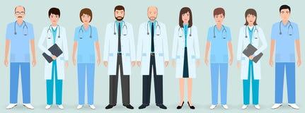 Personel szpitala Grupa dziewięć kobiet i mężczyzna fabrykuje i pielęgniarki Medyczni ludzie ilustracja wektor