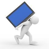 Personen bär backen för TV:N på royaltyfri illustrationer