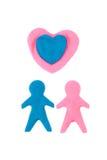 Personen in der Liebe herausgeschnitten im Formteil-Teig Lizenzfreies Stockbild