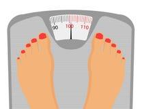 Personen-Füße auf wiegender Skala stockfoto