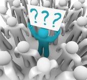 Personen-Holding-Fragezeichen kennzeichnen innen Masse Stockbilder